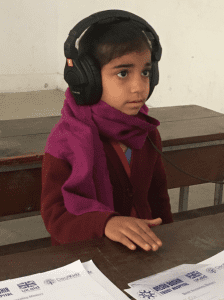 Child wearing headphones