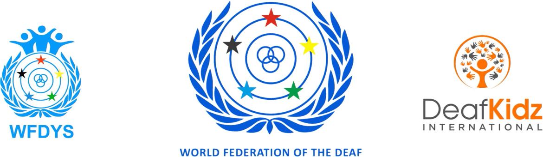 WFD, WFDYS and DeafKidz International logos