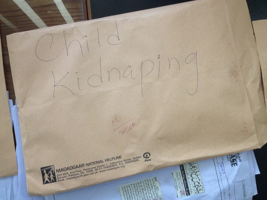 An envelope with 'Child Kidnapping' written on it
