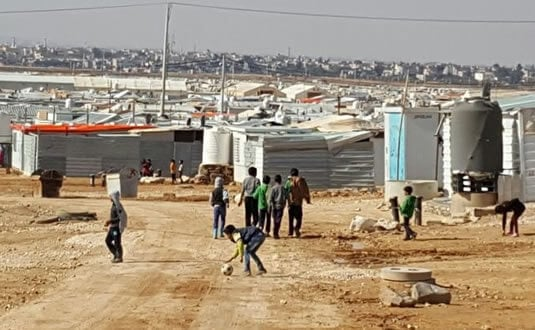 Photograph of the Zataari refugee camp on the Jordan / Syrian border